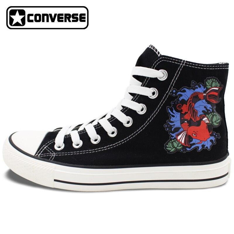 Prix pour Noir Converse Chuck Taylor Chaussures pour Hommes Femmes Conception Koi Poissons Cyprinus Carpio High Top Toile Sneakers Cadeaux D'anniversaire Présente