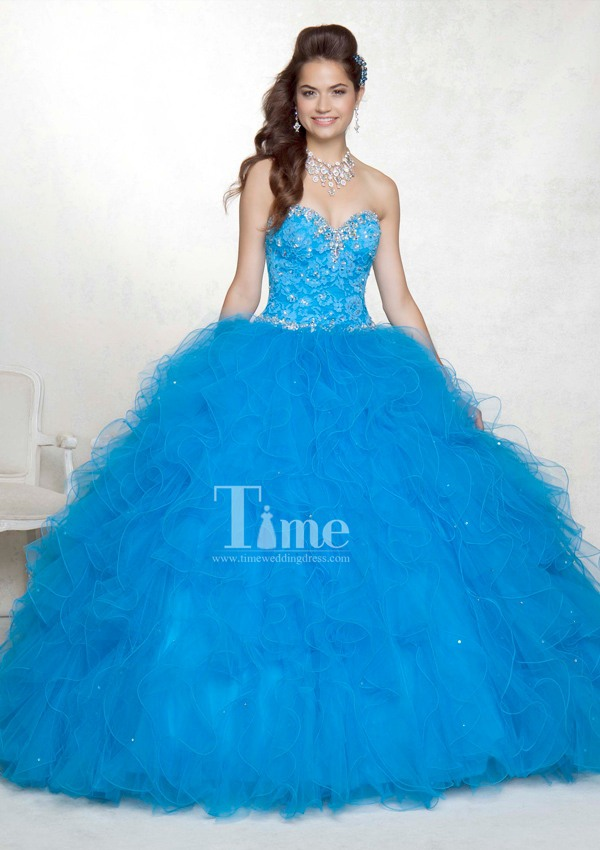 Blue/black/white 2 piece Quinceanera Dresses 2014 Sexy Ball Gown ...