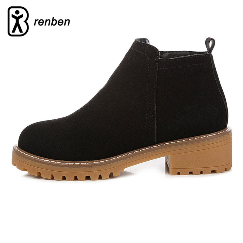 RenBen Plush Warming Women Boots Vintage Scrub Leather Winter Ladies Martin Boots Handmade Durable Oxford Feamle Shoes Footwear