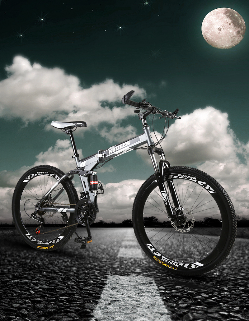 HTB118eNceuSBuNjSsplq6ze8pXaO KUBEEN 26inch folding mountain bike 21 speed double damping bicycle double disc brakes mountain bike