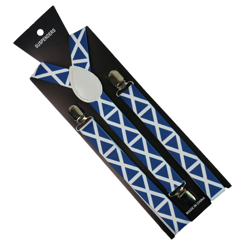 Fashion Blue White Striped Printing Suspender Adjustable Adult 3 Clip Y-Back Clip-on For Men Women Breces For Suspenders Gifti