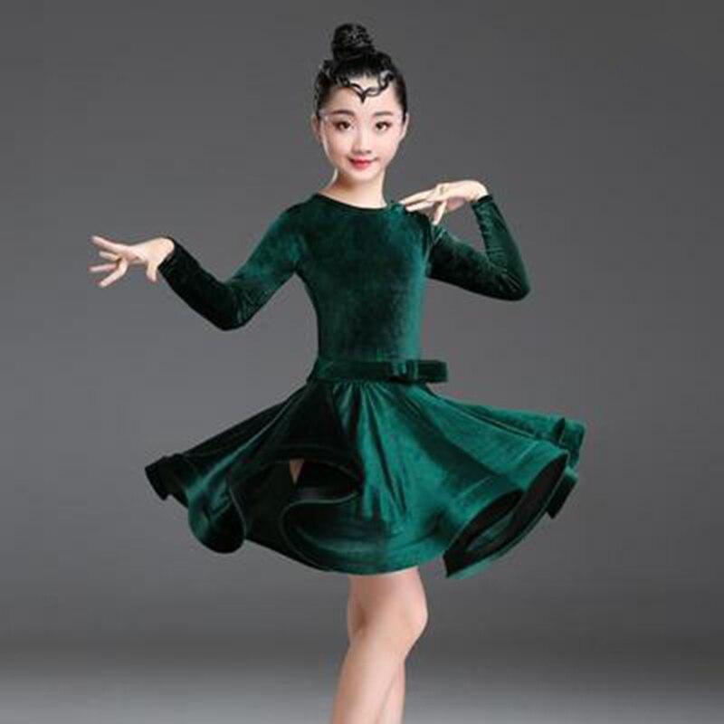 2019 Girls Latin Dresses For Dancing Ballroom Dance Dress Rumba Samba Velvet Children Samba Cha Cha Tango Skirt Standard Salsa