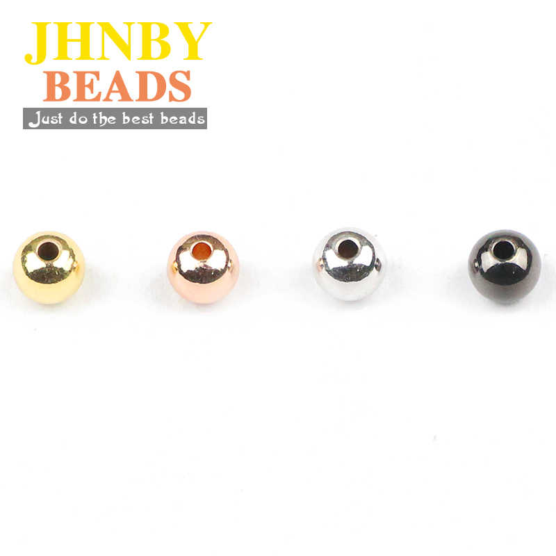 JHNBY Copper Spacer koraliki ball złoty/czarny 4 kolor 3/4/5/6/8MM metalowe okrągłe luźne koraliki do biżuterii bransoletka making DIY ustalenia