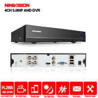 H265+ NINIVISION 5MP 4MP 4CH 4 Channel 5 in 1 XMEYE Hybrid WIFI TVi CVI NVR AHD CCTV DVR Surveillance Video Recoder