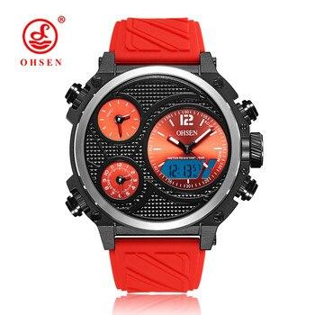 ใหม่OHSENแฟชั่นแบรนด์นาฬิกาดิจิตอลผู้ชายLEDกันน้ำกีฬานาฬิกาผู้ชายสายยางสีแดงปลุกหน้าปัดนาฬิ...