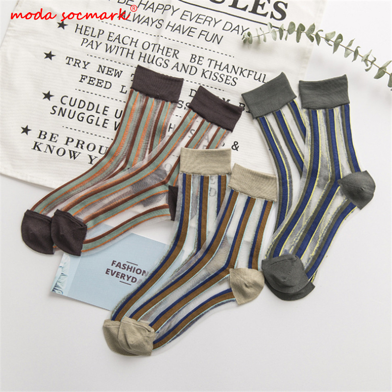 2019 Summer New Women Socks Spell Color Striped Series Sheer Mesh Glass Silk Socks Ultrathin Transparent Crystal Lace Long Sock
