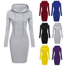 2019 Fashion Hooded Drawstring Fleeces Women Dresses Autumn Winter Warm Dress Vestidos Hoodies Sweatshirt