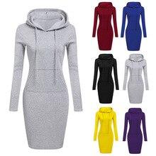 2019 Fashion Hooded Drawstring Fleeces Women Dresses Autumn Winter Warm Dress Vestidos Hoodies Sweatshirt