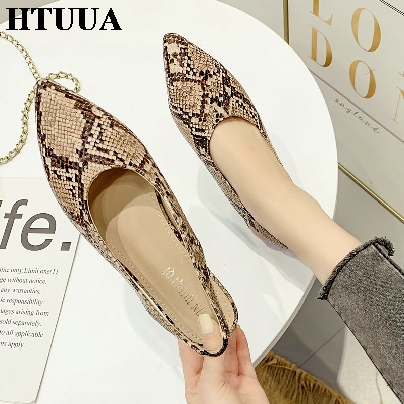 HTUUA Shoes Loafers Mules Women Flats Snake-Print Slip-On Female Autumn Casual Summer