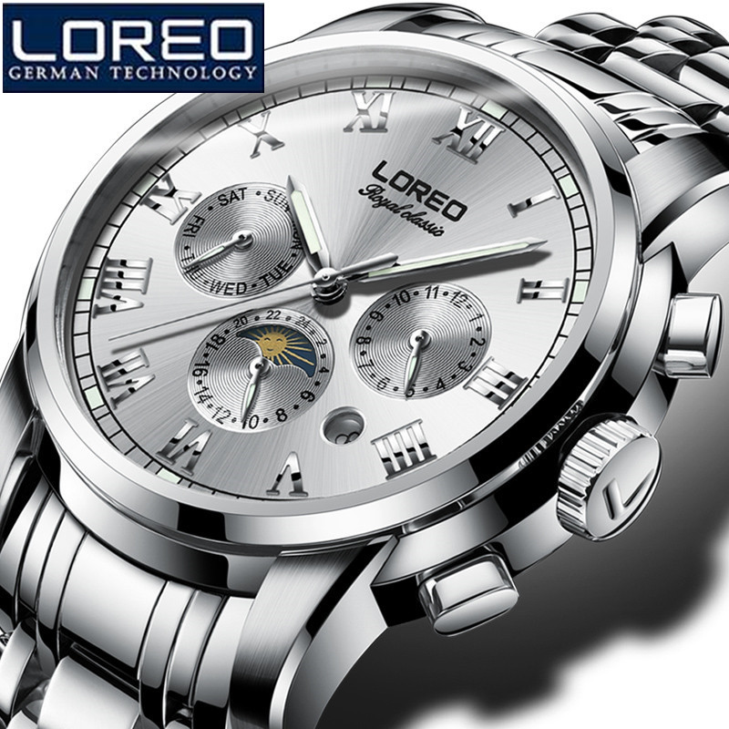 купить LOREO Men Watch Stainless Steel Watch Automatic Mechanical Wristwatch Gift Box Luminous Waterproof Kol Saati Relogio Releges K01 по цене 6230.61 рублей