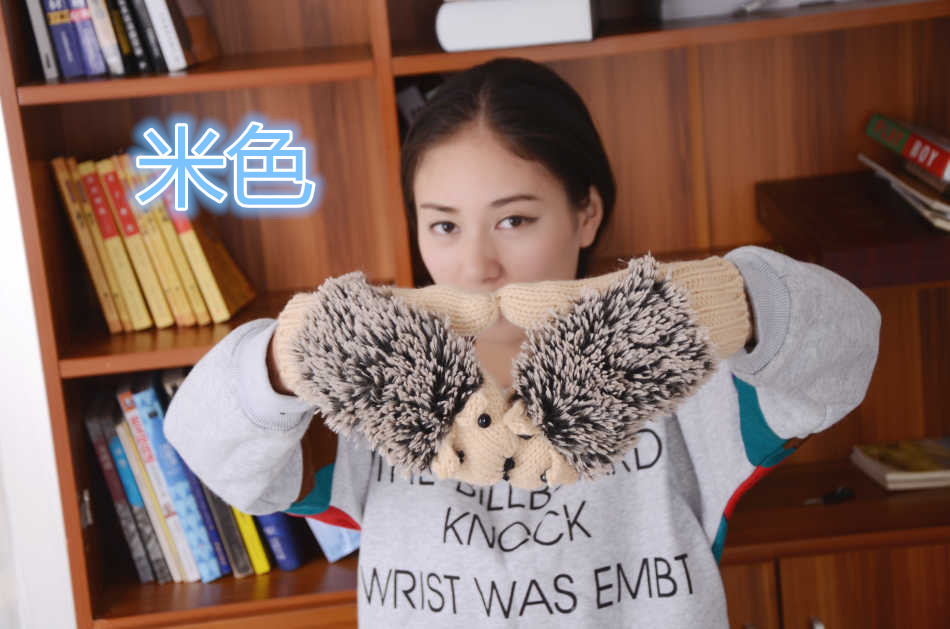 120pairs/lot Womens Fashion Warm Cute Knitted Hedgehog Gloves