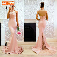 Sexy Pink Mermaid Evening Gowns 2019 Cheap Evening Dresses Long Halter Neck Elastic Satin Appl;iques Lace club Women Party Dress
