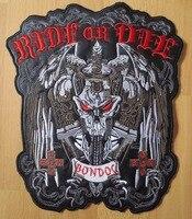 10,6 дюймов Большой Вышивка Патчи для куртку мотоцикла Байкер Утюг на Меч череп ride Or Die