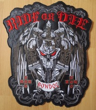 10.6 inches large Embroidery Patches for Jacket Back Vest Motorcycle Biker Iron on Sword Skull RIDE OR DIE