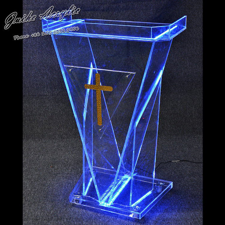 Custom Event Podium Lectern Sign (Custom Event Sign) with a Remote Control to Control the Speed of the Lights, Colors Selection beautiful price reasonable clean acrylic podium pulpit lectern