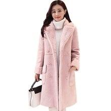 2017 Women Suede Leather Coats Long Double Breasted Trench Coats Female Winter Jackets Ladies Faux Sheepskin Windbreakers WU89