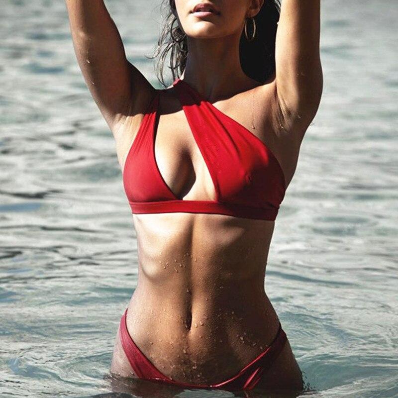 In X One shoulder bikini 2019 Buckle high cut swimsuit Sexy thong bikini Hollow out bathing In-X One shoulder bikini 2019 Buckle high cut swimsuit Sexy thong bikini Hollow out bathing suit White push up swimwear women