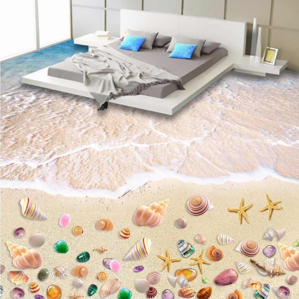 Free Shipping Custom Colorful Beach Floor Mural Living Room Study Store Decoration Floor Wallpaper Mural