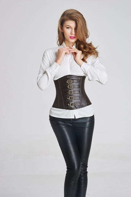 Women Corsets and Bustiers Black Corset Underbust Gothic Corselet Sexy Waist Cincher Steampunk espartilho