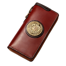 Cow Leather Wallets Nine Palace Cards Pure Copper Bag Purses Women Men Long Clutch Vegetable Tanned Leather Wallet Card Holder handmade genuine leather wave wallets carving auspicious clouds bag purses women men long clutch vegetable tanned leather wallet