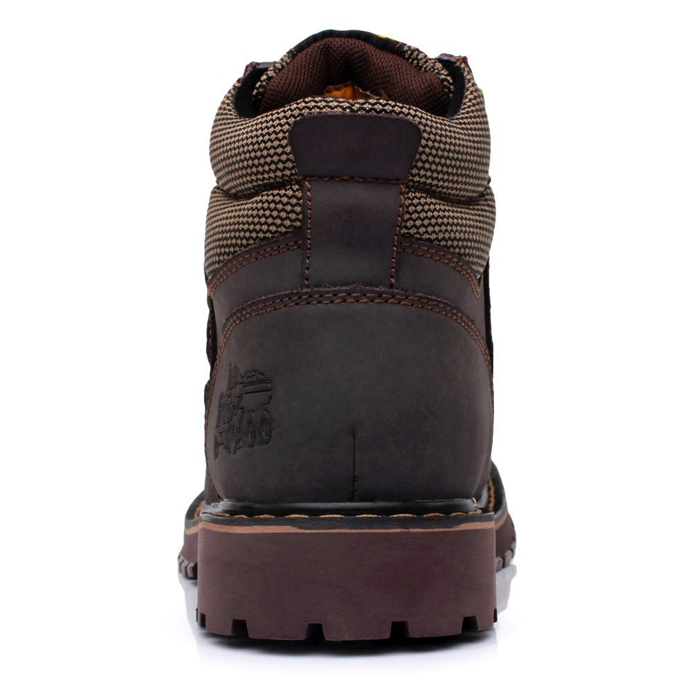 URBANFIND Lace-Up Men Fashion Boots EU 38-44 Durable Rubber Sole Man Nubuck Leather Ankle Shoes Brown / Yellow 7