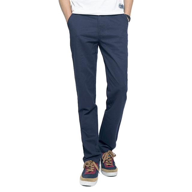 2017 Homens Calças De Algodão Casuais Slim Fit Sólidos Calças Retas Masculinos Verão Trouserss Hombre Pantalones Calças Dos Homens Em Linha Reta