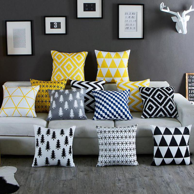 Nordic Simply Geometric Pillow Home Decor Black And White Striped Diamond Pattern Office Chair Gel Cushion Almofadas Para Sofa