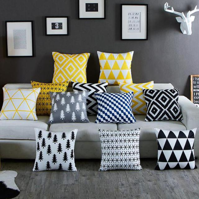 Nordic Simply Geometric Pillow Home Decor Black And White Striped