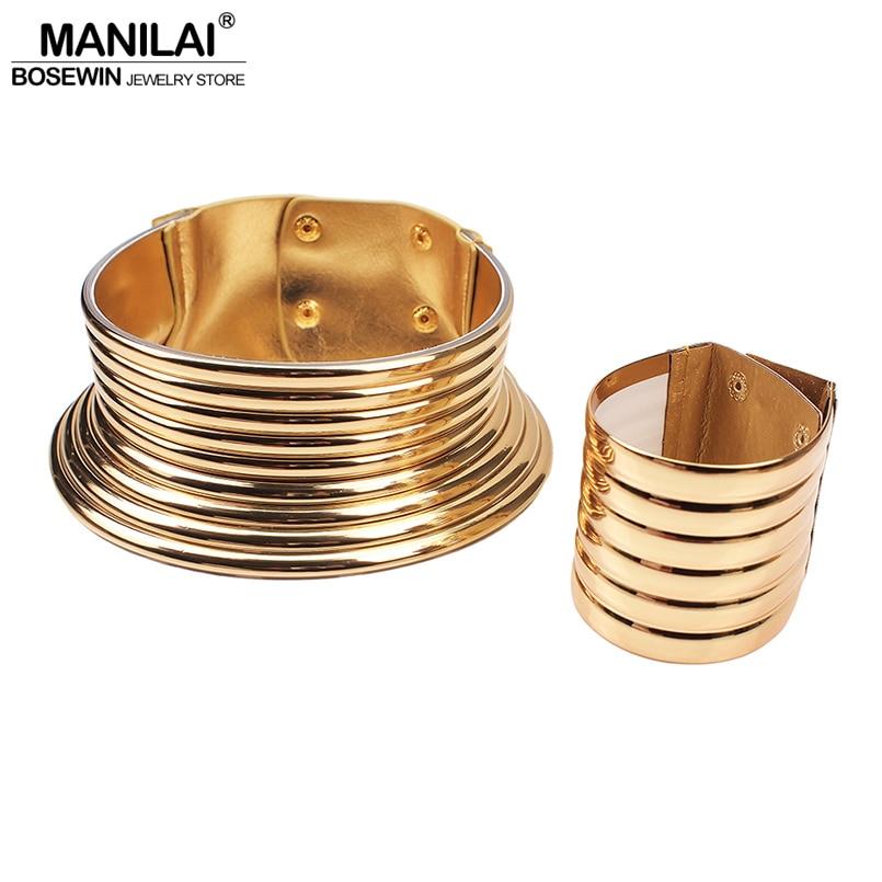MANILAI Oversized African Jewelry Set Women Vintage Leather Necklaces Bracelets Statement Jewelry Set Adjustable Choker Bangle(China)