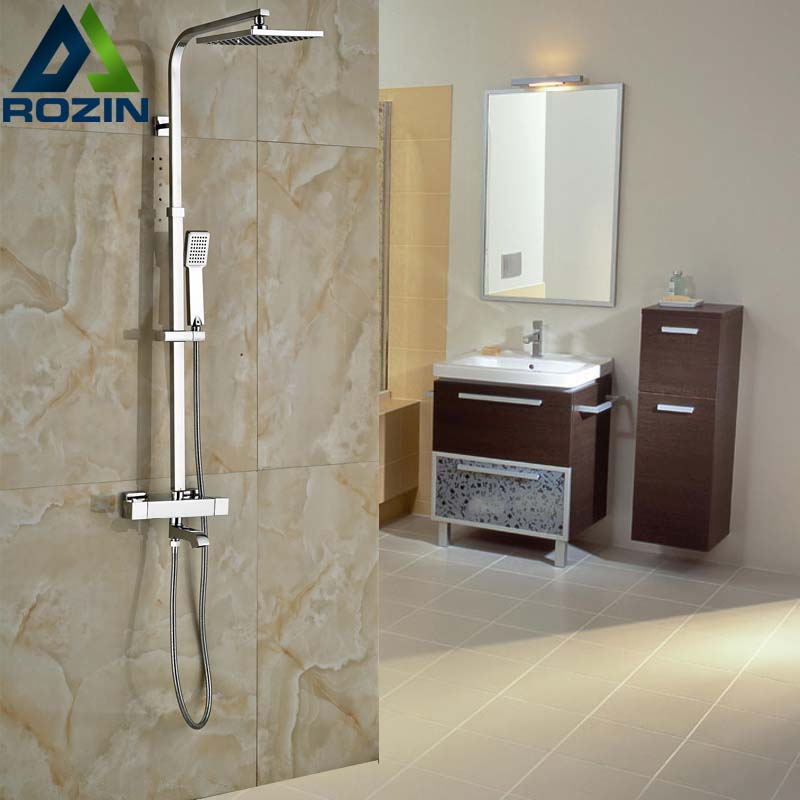 2016 Newly Bathroom Thermostatic Bath Shower Set Faucet Dual Handle 8 Rainfall Shower Head with Hand Shower wall mount thermostatic shower faucet mixers chrome dual handle bathroom hand held bath shower taps