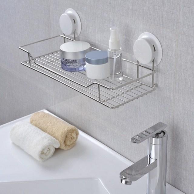 Ventosa ba o estante de acero inoxidable estante de la pared para ba o y cocina rack de - Estantes para banos ...