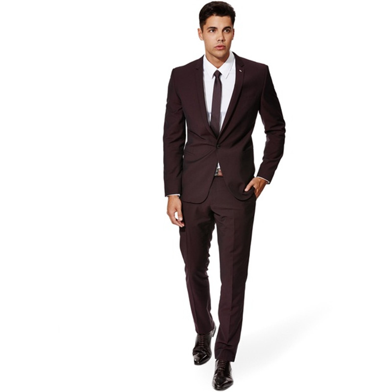 Custom Made New Style Dark Brown Men Suit Tailor Made Suit Wedding Suits For Men Slim Fit Groom Tuxedos (Jacket+Pants) G362