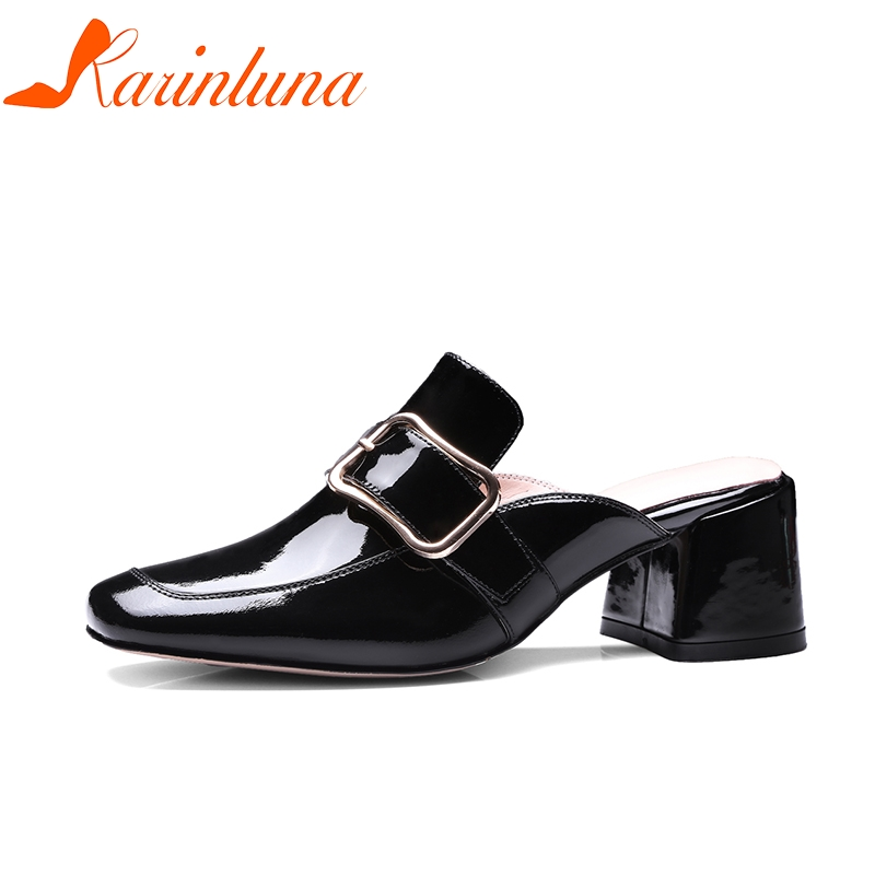 KARINLUNA Cow Patent Genuine Leather Slip On Square High Heels Large Size 33-41 Shoes Woman Casual Mules Pumps Shoes bonjomarissa 2018 summer big size 33 43 women fashion black wine mules high heels patent pumps slip on shoes woman
