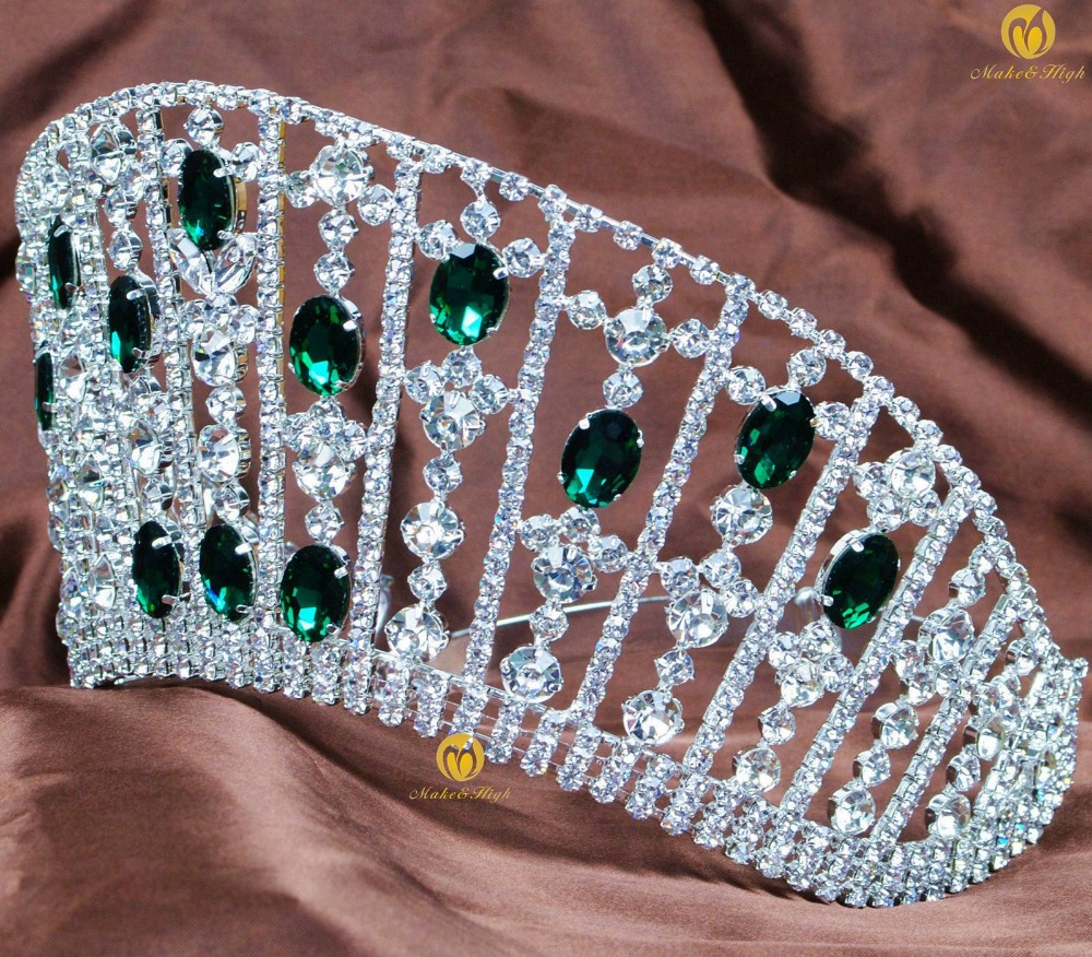 Brides Contoured Wedding Pageant Tiara Simulated Emerald Crystal Hair Crown Women Headband Fashion Jewelry Bridal Party Prom