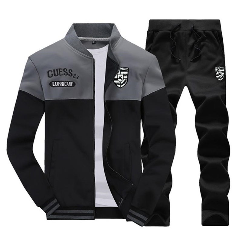Riinr New Casual Tracksuit Men Autumn Zipper Jackets+Pants 2 Pieces Sets Male Slim Fit Sportswear Brand Fashion Men's Solid Set