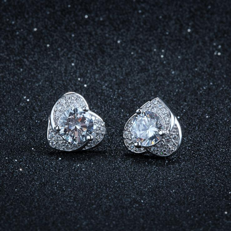 s925 Sterling Silver Stud Earring Woman Girl Lady Female Jewelry Ear Rings Heart Love Shiny Crystal Diamanet New 11*12mm 1 pair