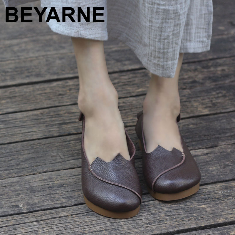 BEYARNE Woman Shoes flat Coffee/Brown/Black Genuine Leather Slip on Flat Shoes with Thick Rubber Sole brushed cotton twill ivy hat flat cap by decky brown