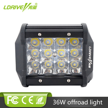 LDRIVE 1PCS Tri-Row 36W LED Work Light Bar High Intensity Chips 4inch Offroad Working for Jeep Ford Truck SUV ATV UTV