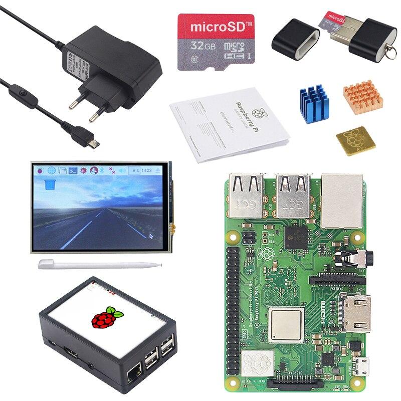 Оригинал Малины Pi 3B + доска + 3,5 дюймов экран TFT + чехол + 2.5A Мощность + 32 г SD карты + теплоотвод для Raspberry Pi 3 Модель B плюс