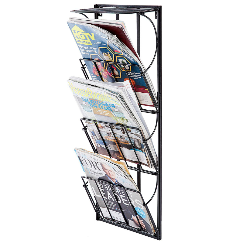 3 уровня металлические настенные газета журнал стойку и Дисплей полка, черный, белый цвет бронза