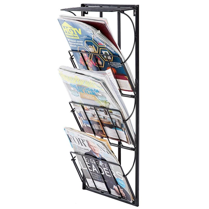 Porte-journaux et présentoir mural en métal à 3 niveaux, Bronze blanc noir