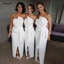 Long African 2019 Bridesmaid Dresses Strapless White Satin Split Ankle Length Maid of the Honor Gowns Wedding Party Dress