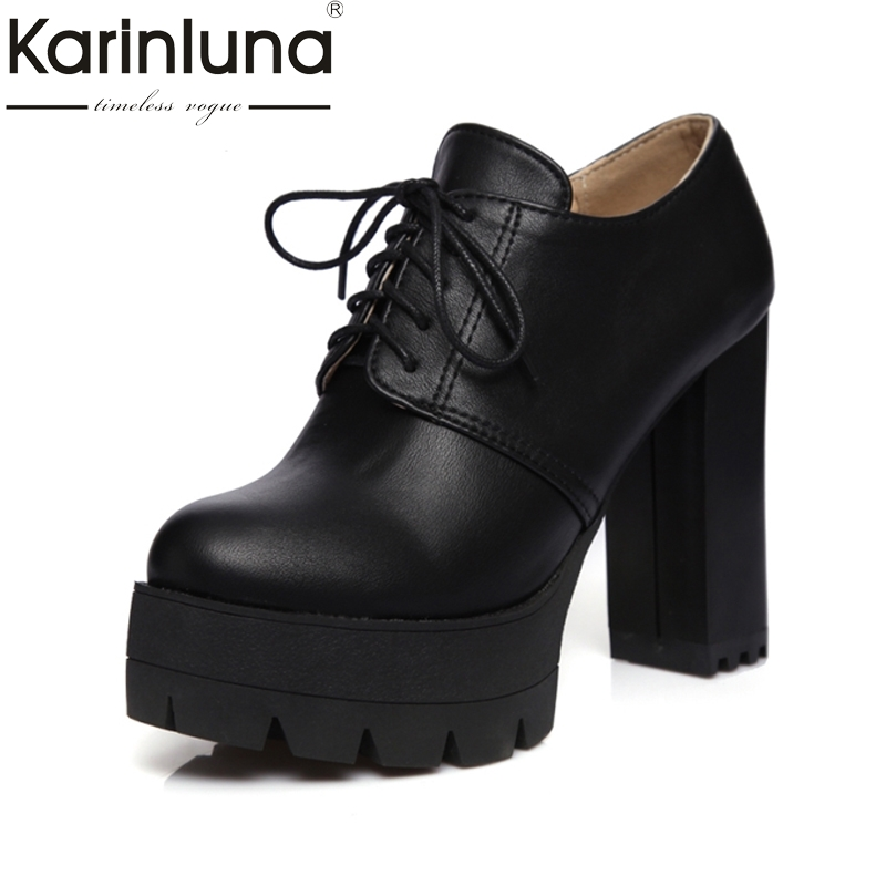 2017 plus size 34-43 Spring Autumn Boots Vintage Lace Up Square High Heels Round Toe Platform Women Shoes Woman Ankle Boots new spring autumn women boots black high heels thick heel boots lace up platform ankle boots large size 34 43