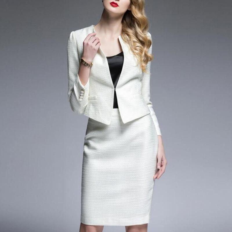 48f58036e75 New Spring Autumn Dress Suit Women Elegant Office Lady Work 2 Pieces Set Long  Sleeve Blazer