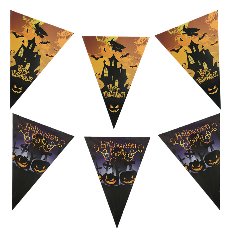 Little Witch Happy Halloween Banners Pulling Flag Hanging Flags Pumpkin Lantern For All Saint
