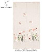 SewCrane Dragonflies In The Grass Cotton Linen Embroidery Design Home Restaurant Door Curtain Noren Doorway Room