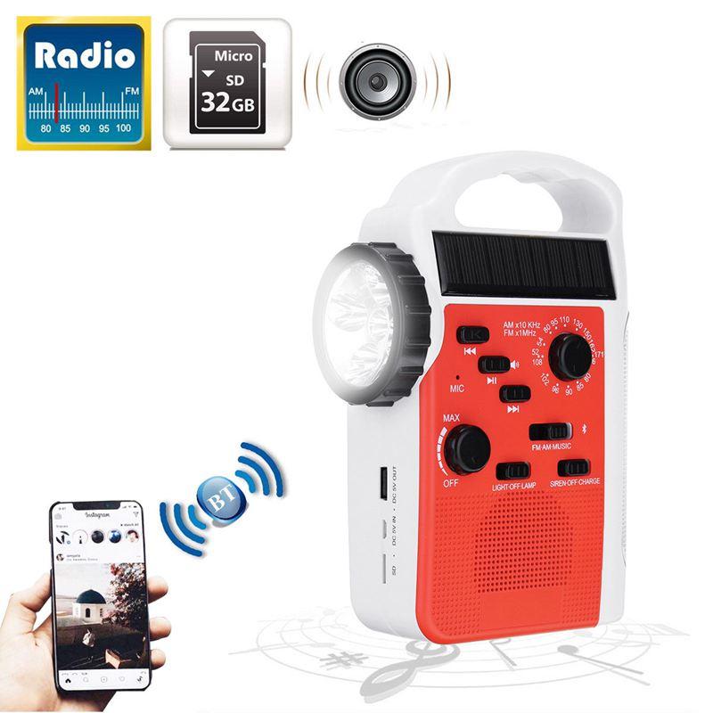 AM/FM Bluetooth Solar Hand Crank Dynamo Outdoor Radio With Speaker Emergency Receiver Mobile Power Supply LED torch Flashlight