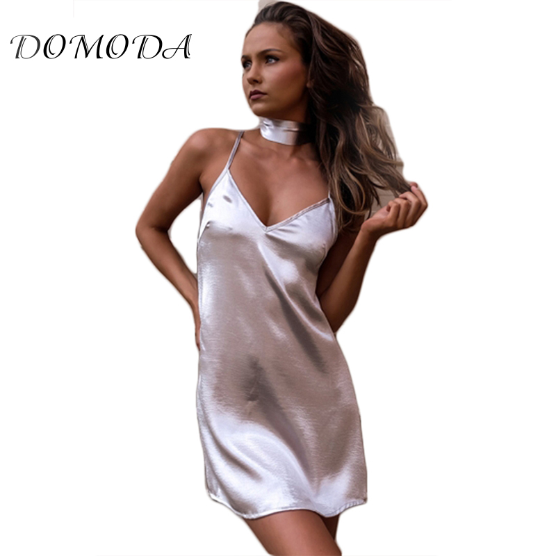 DOMODA 2018 New Arrival Basic Shiny Glossy Satin Spaghetti Strap Cross Back Dress Simple Mini Sleep Dress With Choker