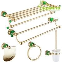 Gold Green Crystal European Bathroom Hardware Set Brass Towel Bar Bath Shower Basket Toothbrush Holder Metal Soap Dish Ceramic