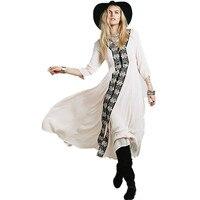 2017 Embroidery Loose Hobe Style Long Dress Long Sleeve Large Hem Women's Bohemian Dress V-neck Fall Maxi Dress Fashion Dress